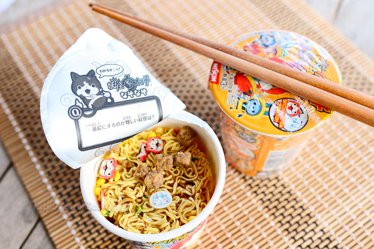 【美食開箱】日本日清食品 Nissin《妖怪手錶  醬油泡麵》小巧可愛的兒童泡麵 x 卡通造型魚板